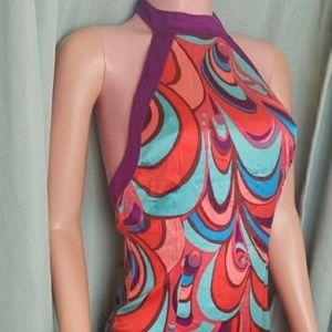 Marciano 100% Silk Retro Halter Dress